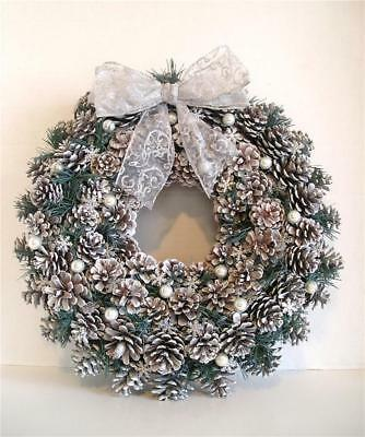 """Frosted Natural Pine Cone Wreath Silver Green & White for Door or Wall 15"""" X 15"""""""
