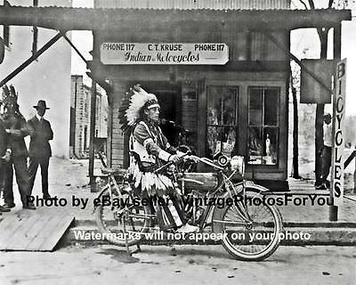 Rare Old Odd Vintage Early 1900's Native American Indian Motorcycle Photo