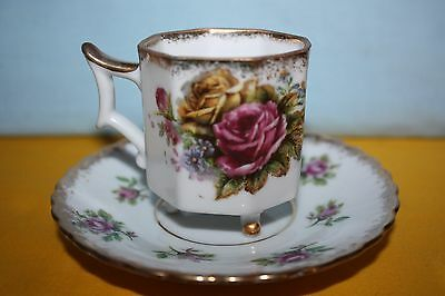 Vintage Fred Roberts Co. 3 Footed Octagonal-Shaped China Tea Cup & Saucer