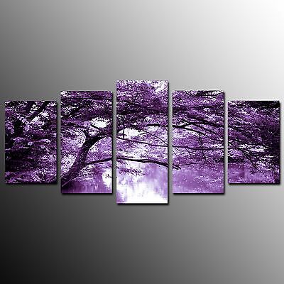 FRAMED Large Canvas Prints Poster Purple Tree Wall Art Painting Home Decor-5pcs