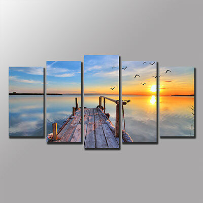 FRAMED Large Canvas Prints Wall Art Canvas Painting Home Decor Seaside Path-5pcs