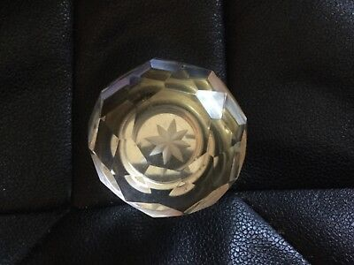 Vintage cut glass crystal? door knob/handle with brass base