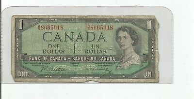 1954 One Dollar Bank Note From Canada
