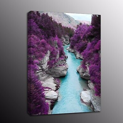 Landscape Canvas Prints Oil Painting Picture Wall Art Purple scenery Blue Lake