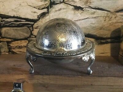 A beautiful vintage silver plated roll top butter/caviar dish.very ornate.