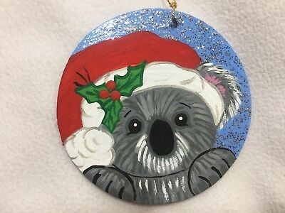 Adorable Koala Bear In Santa Hat Painting On Wood Ornament By Barbi