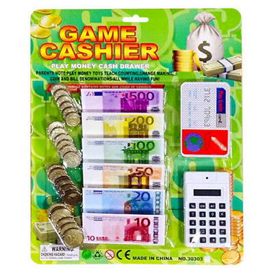 Kids Play Money Toy Coin Notes Euro's Children Pretend Play Cash