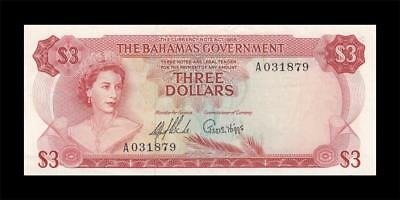 1965 British Colony Bahamas 3 Dollars Qeii $3 (( Ef+ ))
