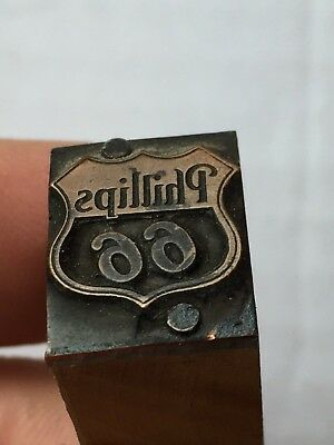 Nice Antique Phillips 66 Advertising Printers Block Oil & Gas Copper & Wood
