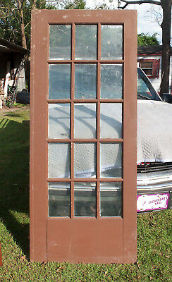 "Salvaged 15 Pane Glass Door - 32.5"" X 79"" - Chippy - French Style #2"