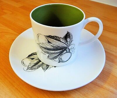 Susie Cooper Black Fruit Design Grape Cup Saucer Coffee Can Demi Porcelain
