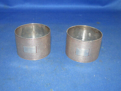 Antique Sterling Silver Napkin Ring Pair, Signed: B.c. ( Anchor, Lion, U ) Rare