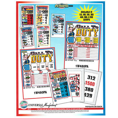 """Patriotic Pack"" 1 Window Pull Tab 480 Tickets Payout $363"