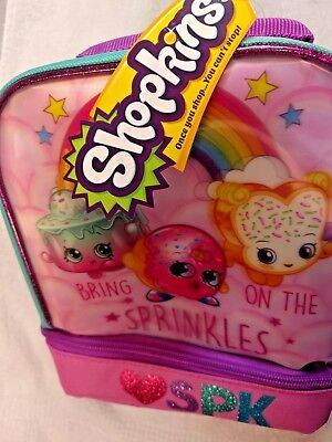 "NEW Shopkins Insulated Dual Compartment Lunch Bag/Tote ""Bring on the Sprinkles""!"
