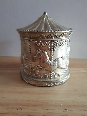 Vintage Silver plated, embossed merry go round money box, lovely condition 1980s