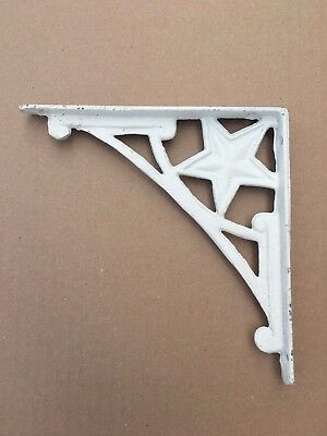 2 Cast Iron White Star Wall Shelf Brace Bracket Rustic Vintage Antique Style