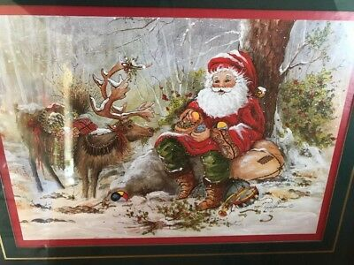 """HOME INTERIORS Santa Reindeer Peggy Abrams Framed 15 1/2"""" X 12 1/2"""" Picture Box"""