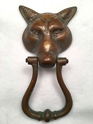 "Vintage Antique Solid Brass * WOLF FOX DOOR KNOCKER * 9.5"" Beautiful Patina"