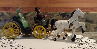 Vintage Cast Iron 2 Horse Drawn Carriage