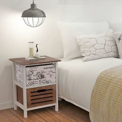Home Bedside Cabinet Table Bedroom Nightstand Wood Furniture White Brown Drawer