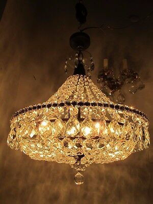 Antique Vnt French Basket Style Czech Crystal Chandelier Lamp 1940s 16in Ø dmter