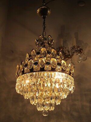 Antique Vnt French BIG Basket Swarovski Crystal Chandelier Lamp 1960's 13in dmt