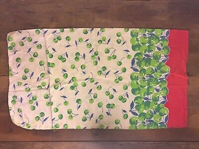 Vintage Unopened Feed Sugar Sack Green Cherry Red Border Excellent Condition