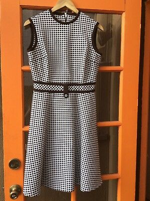 Vintage 1960s Fit And Flare Brown sleeveless Checker Dress M L Medium Large mod