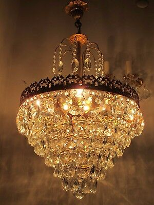 "Antique Vnt French HUGE Basket Brass Crystal Chandelier Lamp 1940's 16"" diameter"