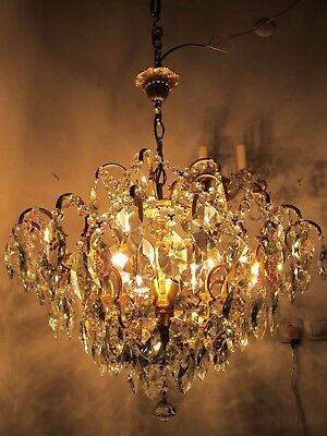 Antique Vnt French HUGE Spider Style Crystal Chandelier Lamp 1940's 24in Width *