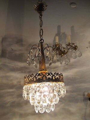 Vnt French Pretty Basket Style Real Bohemia Crystal Chandelier 1960's 10in dmt