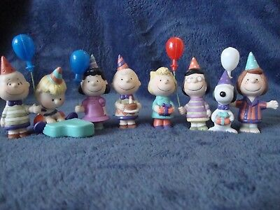 Lot of 8 Peanuts Porcelain Figurines NEW Willitts Birthday Party