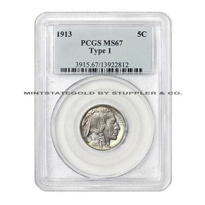 1913 5c Buffalo Nickel PCGS MS67 uncirculated Philadelphia minted 5 cent coin