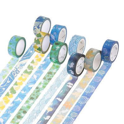 9Pcs 10M Art Washi Sticker Decor Roll Paper Masking Adhesive Tape DIY Crafts -UK