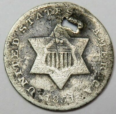 1851-O Silver Three Cent Piece Trime 3c US Coin Item #15487