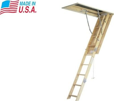 Fully Assembled 7' - 8' Wood Pull Down Attic Ladder Easy Storage Access Door Kit
