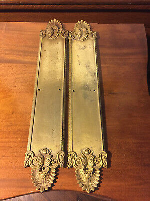 "Vintage Push Plates, Heavy Brass Yale And Town 17 1/2"" Long"