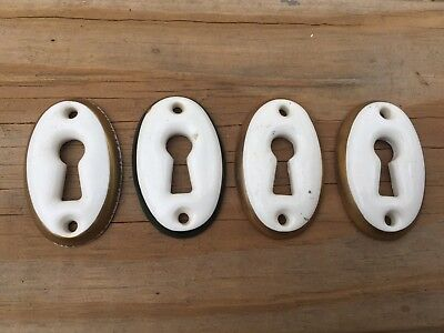 4 Porcelain Skeleton Key Cover Door Lock Escutcheon Hardware 1800S Victorian