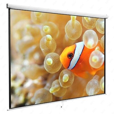 """120"""" 1:1 Manual Pull Down Projection White Screen Matte Home HD Movie Theater"""