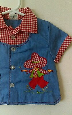 Vtg Baby Boys Cowboy Top w/ Gingham & Chambray By Cradle Togs 18 Mos Vintage