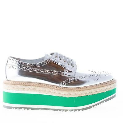 de1875bba0ab PRADA women shoes Silver mirrored leather laces brogue derby micro wedge  1E206D