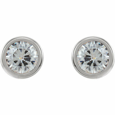 14K White 5mm Round Forever One™ Moissanite Bezel Set Earrings 1CTW NEW! C&C