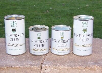 *Super Clean* Group of 4 University Club Flat Top Beer Cans (Wisconsin)
