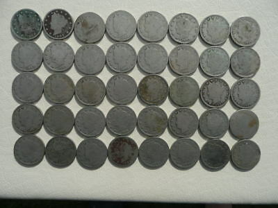 Lot of 40 Liberty V Nickel Five Cents Coins - one roll