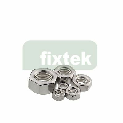 Hex Full Nut Stainless Steel A2 Nut DIN 934 - M2 M4 M5 M6 M8 M10 M12 M16 M18 M20