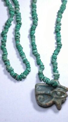 """Egyptian Green Terracotta, HOURS, Necklace Mummy Beads set 24"""" Hand Beaded"""