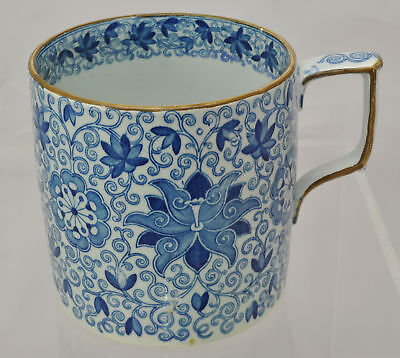 Oversize Antique Pearlware Blue Staffordshire Lotus Scroll Porter Mug 1830