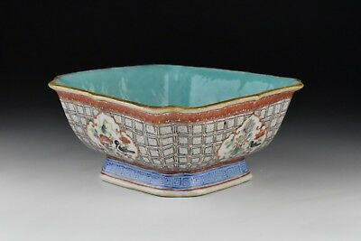 Antique 19th Century Chinese Export Famille Rose Porcelain Bowl w/ Seal Mark