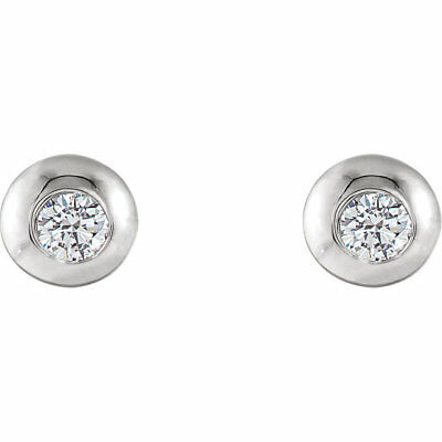 14K White 2.5mm Round Forever One™ Moissanite Domed Earrings by C&C NEW!