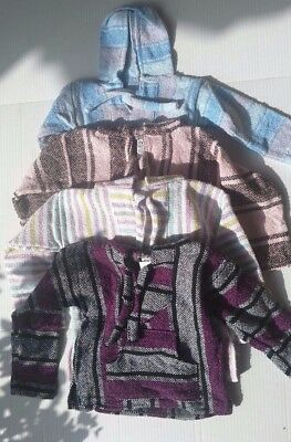 Baja Surfer Children Hoodie Mexican Pullover Striped Multicolor Sz 1-4T